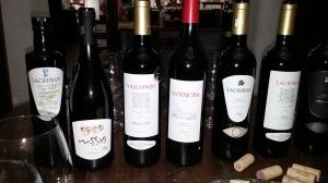 Algunos de los vinos de la tarde.