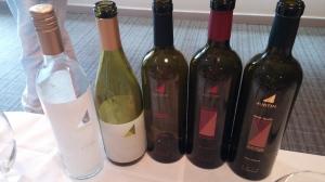 Los vinos Justin presentados en la degustación.